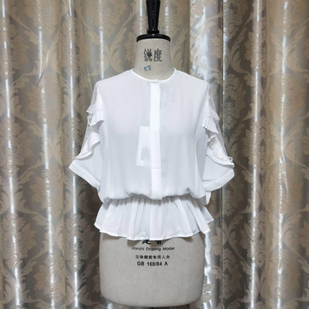 女士短袖衬衣 新款镂空灯笼白衬衫女短袖上衣2017夏装女装韩版收腰显瘦衬衣B33_推荐淘宝好看的女短袖衬衣