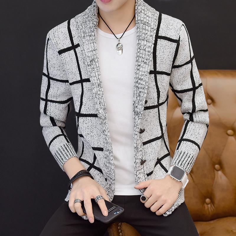 针织夹克 秋季男士外套韩版青年格子针织新款夹克学生潮流男装翻领冬天外衣_推荐淘宝好看的男针织夹克