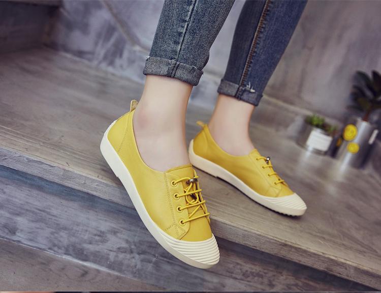 黄色平底鞋 平底小白鞋女真皮2018新款春夏季休闲透气板鞋学生红色黄色单鞋女_推荐淘宝好看的黄色平底鞋