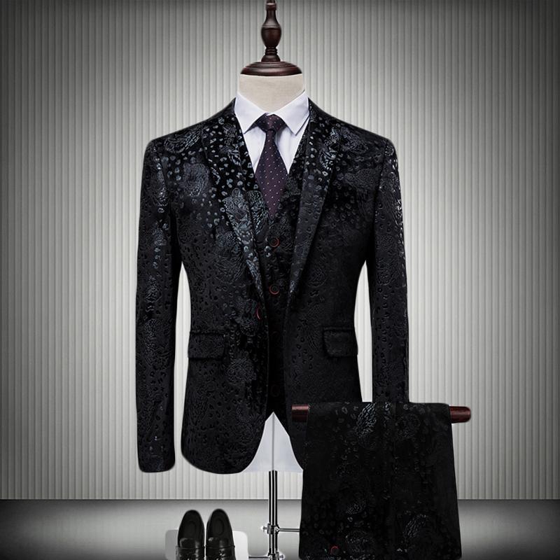 男士结婚西装 男式印花西装三件套韩版修身时尚结婚宴会西服套装主持人舞台礼服_推荐淘宝好看的男结婚西装