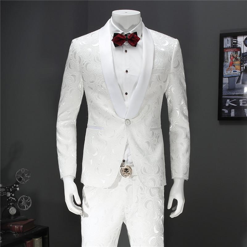 韩版男士小西装 男士白色休闲西装两件套韩版修身花西服套装结婚宴会主持人礼服_推荐淘宝好看的韩版男士西装