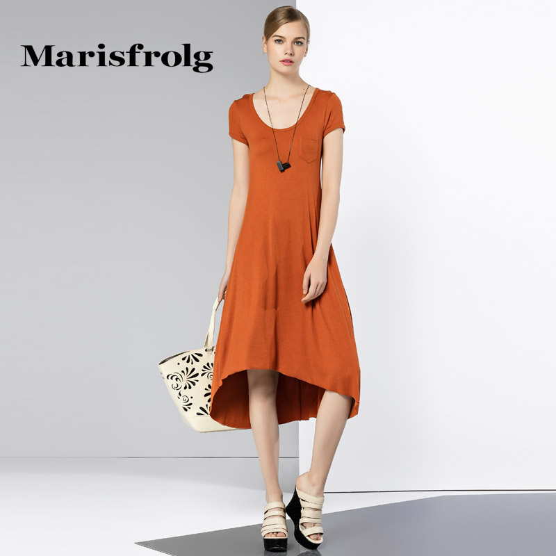 玛丝菲尔女装正品 Marisfrolg玛丝菲尔女装时尚圆领修身短袖不规则连衣裙专柜正品_推荐淘宝好看的玛丝菲尔正品