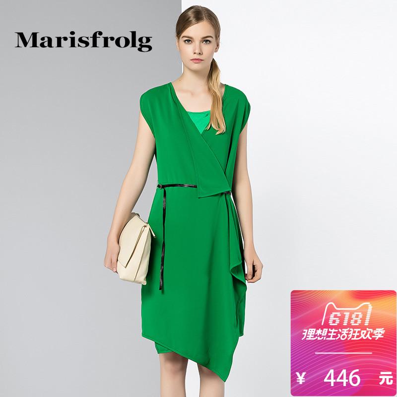 玛丝菲尔正品代购 Marisfrolg玛丝菲尔女装时尚V领不对称显瘦系带连衣裙夏专柜正品_推荐淘宝好看的玛丝菲尔