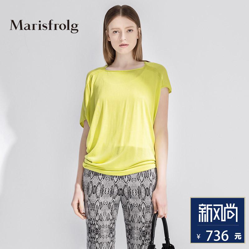 玛丝菲尔女装正品 Marisfrolg玛丝菲尔时尚侧边堆褶宽松套头真丝针织衫女专柜正品_推荐淘宝好看的玛丝菲尔正品