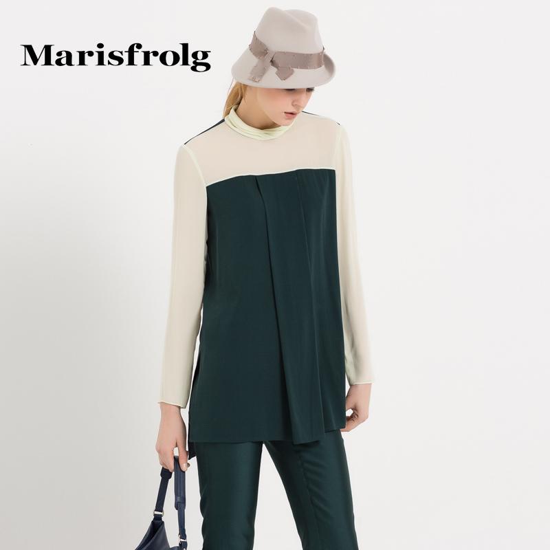 玛丝菲尔女装正品 Marisfrolg玛丝菲尔女装时尚优雅撞色拼接压褶长袖上衣专柜_推荐淘宝好看的玛丝菲尔正品