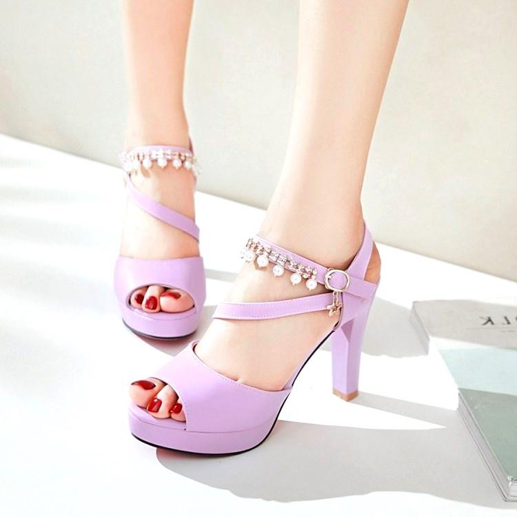 粉红色凉鞋 紫色鞋白色粉红色女鞋婚鞋粗跟高跟凉鞋小码凉鞋大码鞋 32 42 HR_推荐淘宝好看的粉红色凉鞋