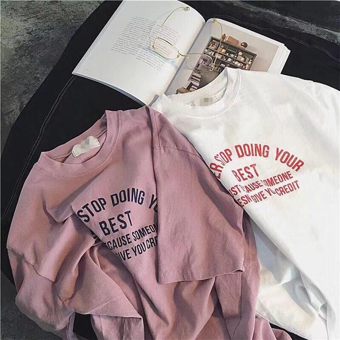 女士纯棉t恤 早春百搭圆领少女系香芋色浅紫色藕粉色字母印花宽松纯棉短袖T恤_推荐淘宝好看的女纯棉t恤
