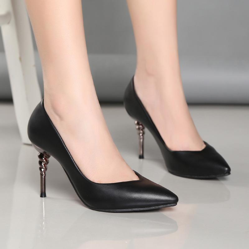 女高跟鞋 真皮舒适软皮高跟细跟职业工作单鞋2018新款浅口简约时尚百搭女鞋_推荐淘宝好看的女高跟鞋
