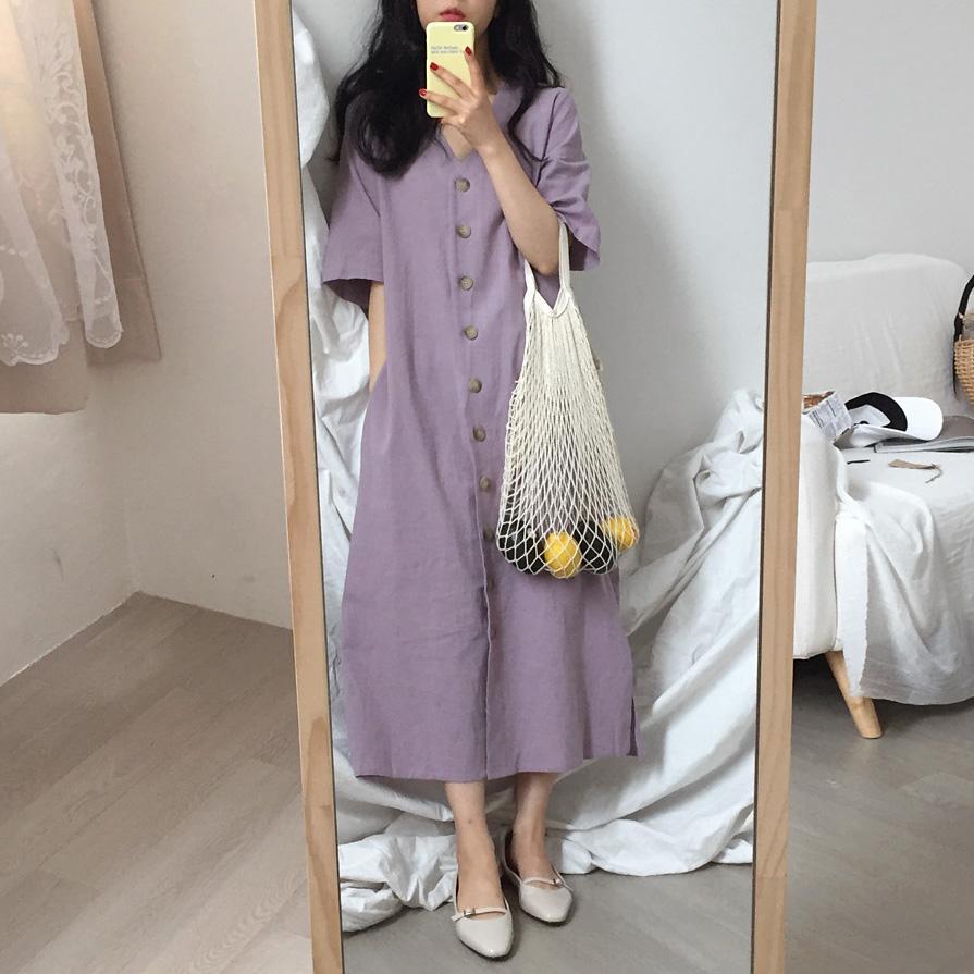 紫色连衣裙 【Muzly】chic夏季复古烟雾紫撞色单排扣侧开叉系带V领短袖连衣裙_推荐淘宝好看的紫色连衣裙