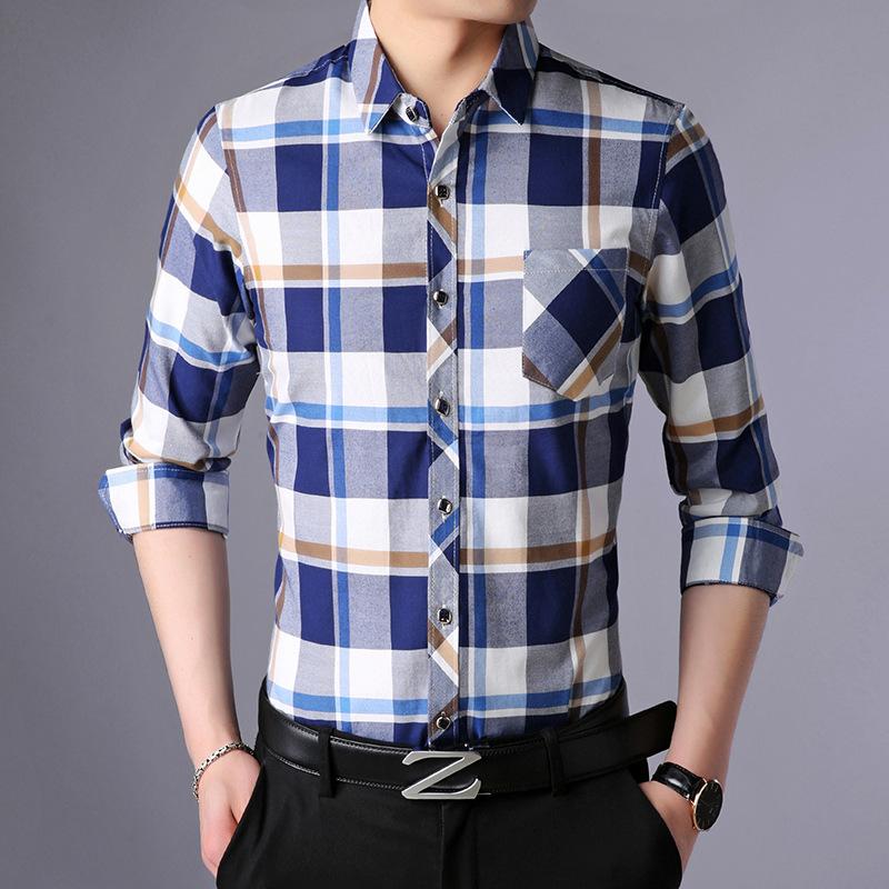 格子男式衬衫 爸爸装衬衫 30至35到40男式45韩版50父亲节日55岁多立领长袖格子_推荐淘宝好看的格子男式衬衫