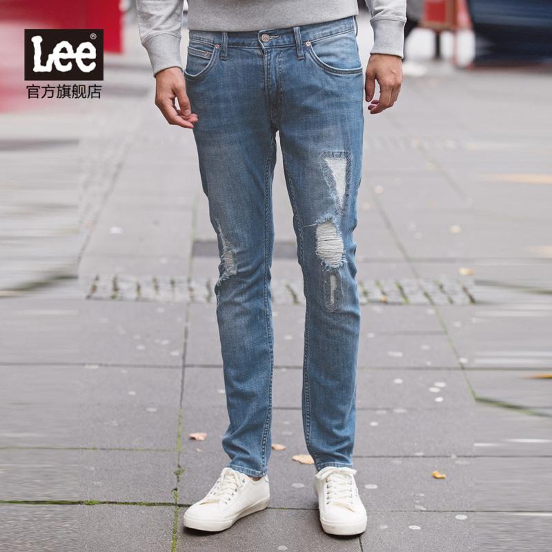 lee男士牛仔裤 Lee男装 2017秋冬新品低腰直脚破洞牛仔裤 L11709Z027GF_推荐淘宝好看的lee 牛仔裤