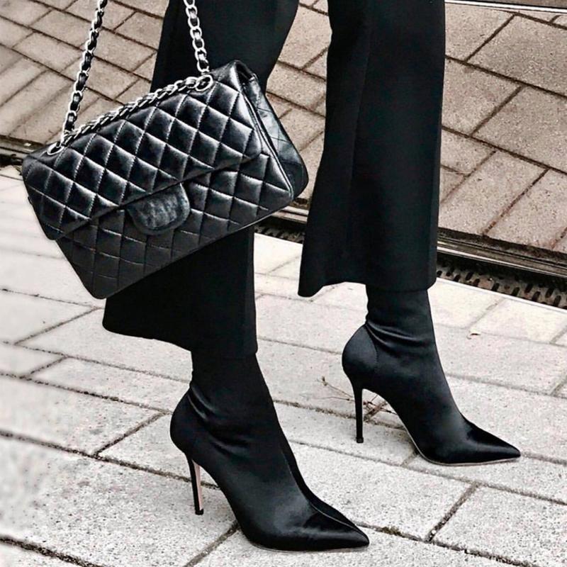尖头短靴 明星同款秋冬袜靴高跟欧美性感细跟瘦腿弹力靴女百搭尖头中筒短靴_推荐淘宝好看的尖头短靴