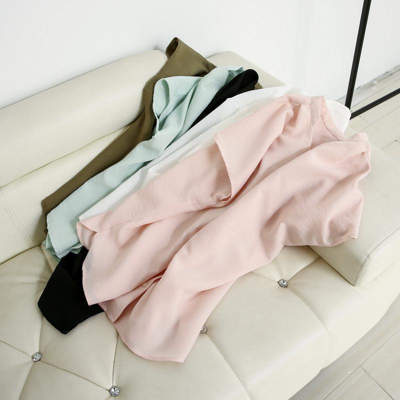 休闲衬衫 CC70402 国内单 2017夏季新款 纯色宽松单排扣衬衫女士休闲上衣_推荐淘宝好看的女休闲衬衫