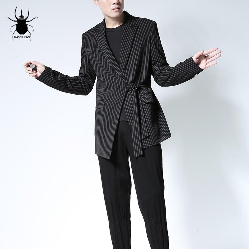男士修身西装 RAYSHOW原创男装5cm日系不对称腰带设计竖条纹修身中性款西装外套_推荐淘宝好看的男修身西装
