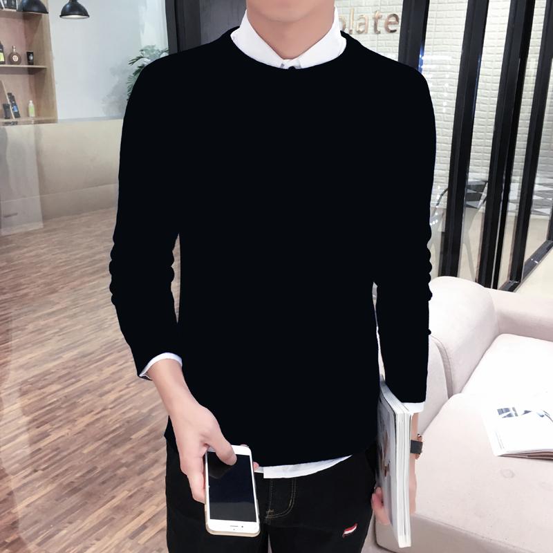 男士修身针织衫 韩版男士毛线衣修身圆领打底衫毛衣针织衫加厚加绒高领紧身黑男装_推荐淘宝好看的男修身针织衫