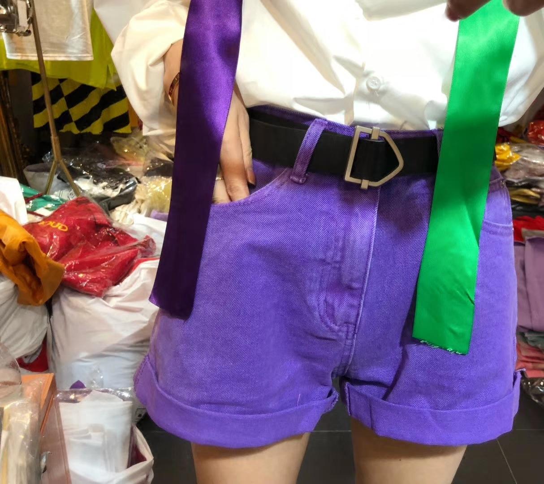 紫色牛仔裤 欧洲站2018春装新款配腰带紫色牛仔裤短款休闲热裤女_推荐淘宝好看的紫色牛仔裤