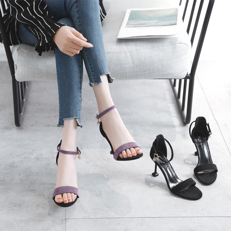 紫色鱼嘴鞋 韩版凉鞋女夏季露趾紫色绒面一字扣细带罗马圆头百搭细跟高跟女鞋_推荐淘宝好看的紫色鱼嘴鞋