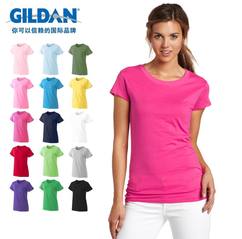 空白t恤 GILDAN76000L 吉尔丹美国纯棉纯色空白圆领短袖T恤女打底衫印字_推荐淘宝好看的女空白t恤