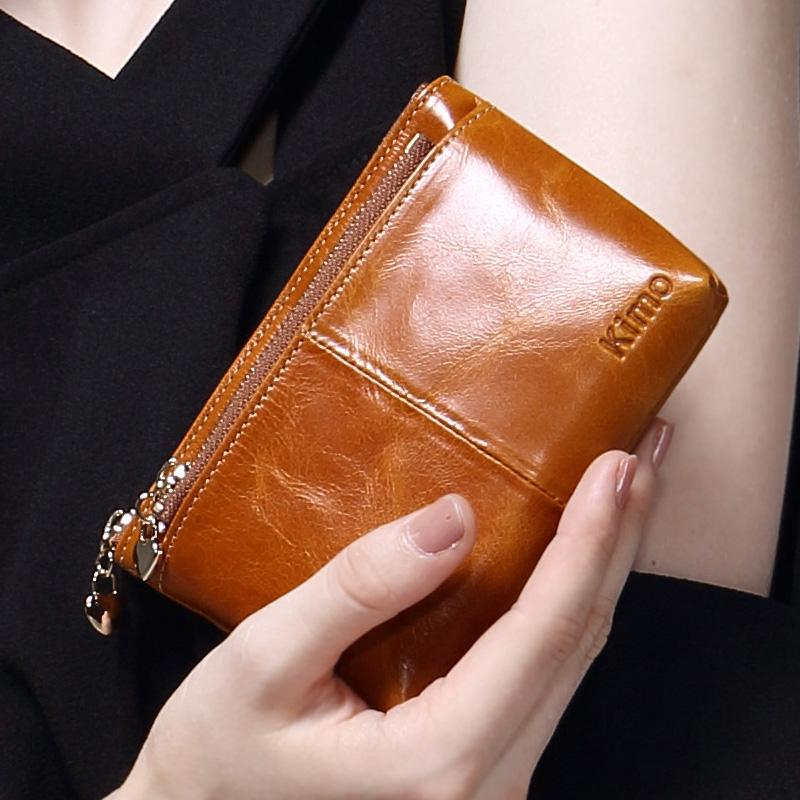 紫色钱包 KIMO 牛皮零钱包硬币包女 真皮小钱包 短款学生拉链手包拿钥匙包_推荐淘宝好看的紫色钱包