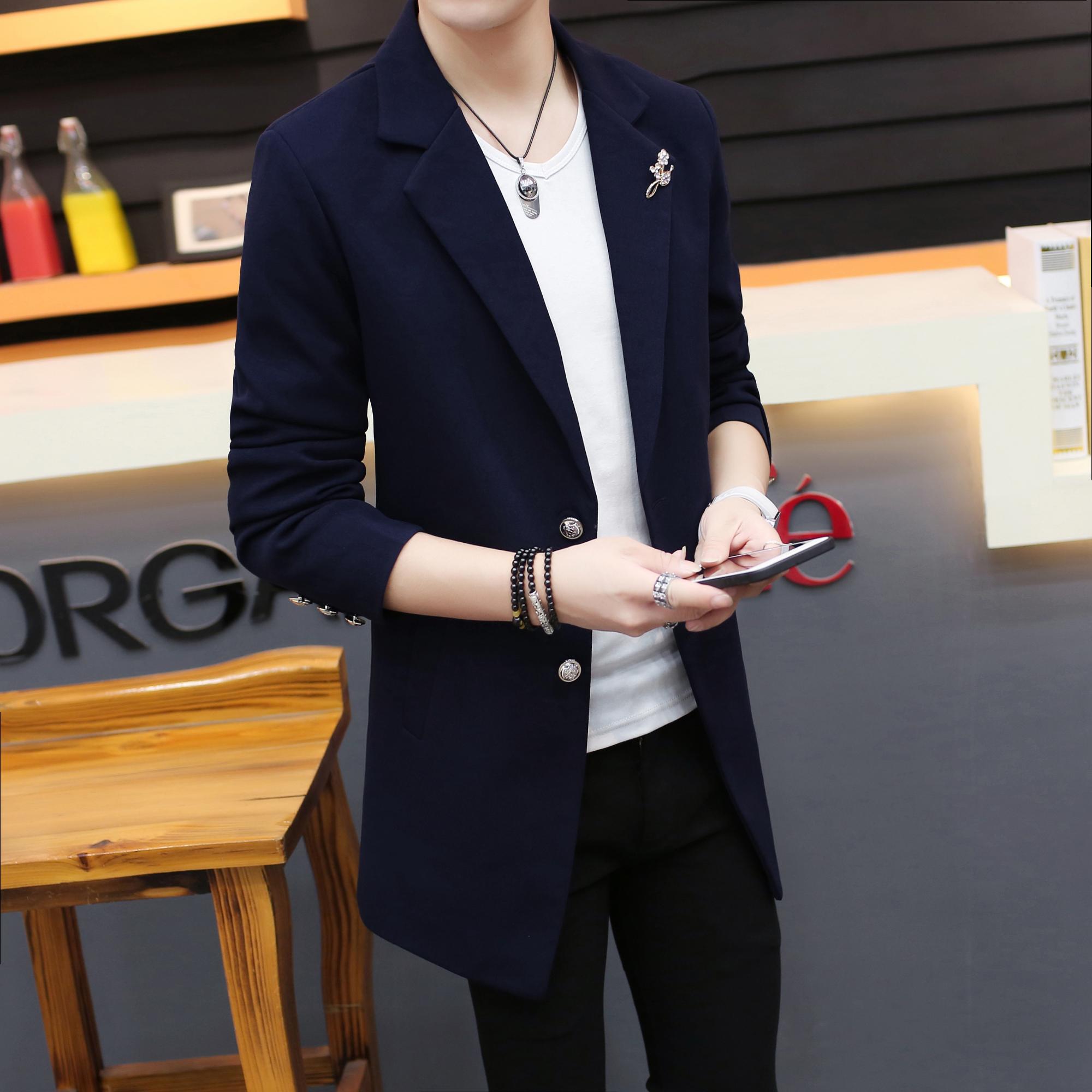 日本西装男 秋季男装韩版日系发型师修身中长款西服风衣男士青少年小西装外套_推荐淘宝好看的日西装男