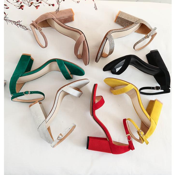 黄色罗马鞋 2018夏季真皮粗跟高跟一字带凉鞋包跟黄色绿色驼色罗马鞋女鞋子_推荐淘宝好看的黄色罗马鞋