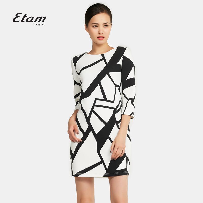 艾格连衣裙 艾格 Etam  时尚 个性印花圆领连衣裙16012246786_推荐淘宝好看的艾格连衣裙