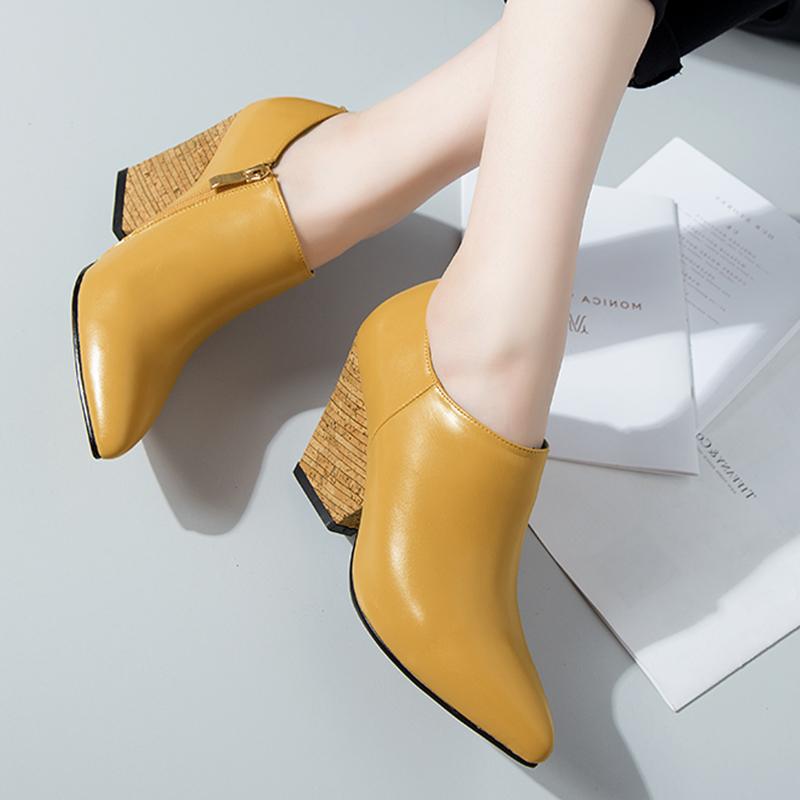 黄色坡跟鞋 春秋罐罐鞋尖头坡跟高跟窝窝鞋裸靴低帮短靴小皮鞋单鞋女深口黄色_推荐淘宝好看的黄色坡跟鞋