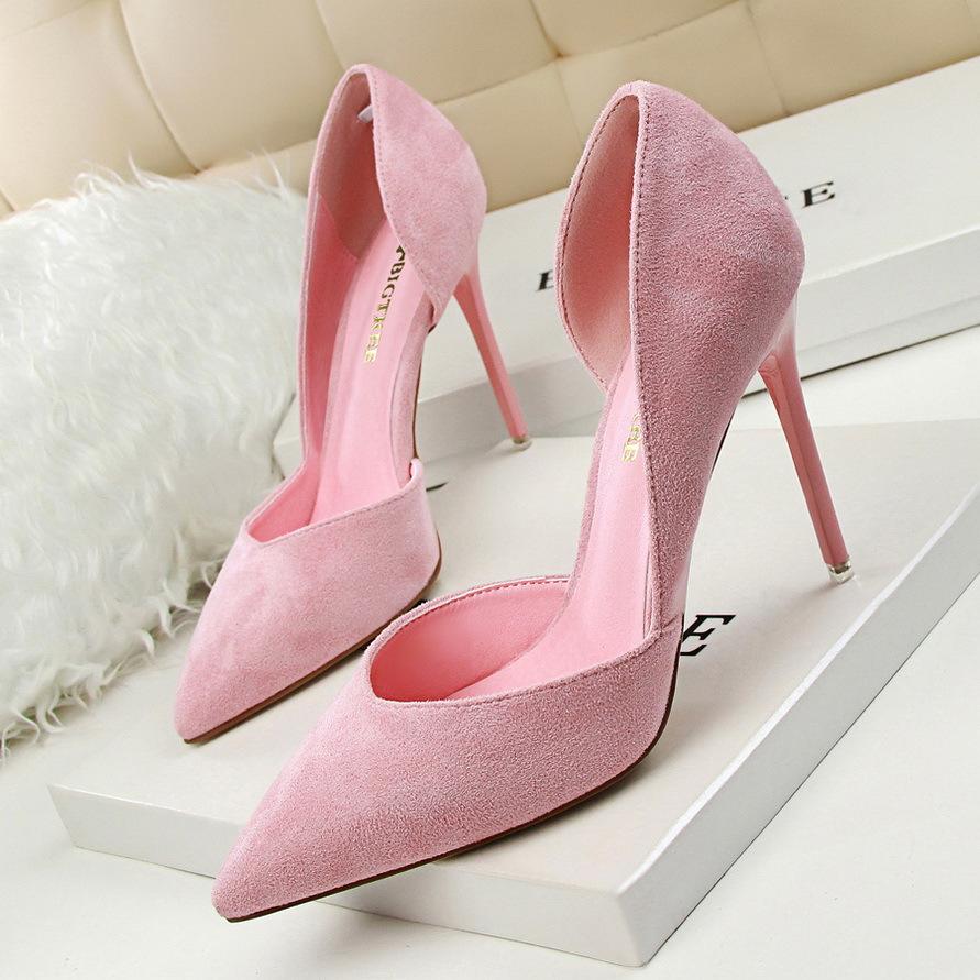 粉红色尖头鞋 2016时尚性感单鞋尖头黑色浅口夜场高跟鞋女细跟粉红色新娘鞋婚鞋_推荐淘宝好看的粉红色尖头鞋