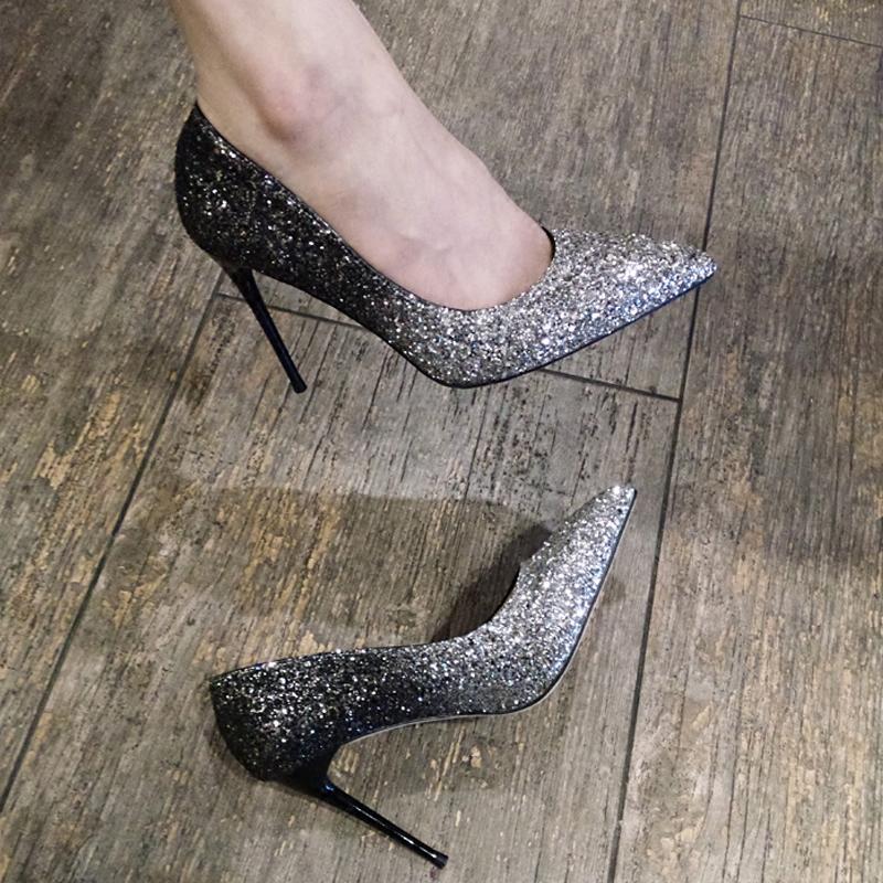 细高跟单鞋 银色亮片尖头高跟鞋女细跟明星同款潮渐变走秀单鞋新娘鞋宴会婚鞋_推荐淘宝好看的女细高跟单鞋