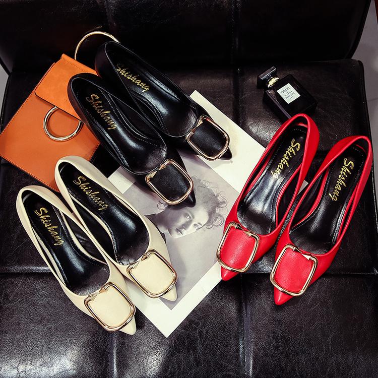 红色尖头鞋 韩版简约百搭显瘦尖头单鞋女高跟鞋5cm 浅口低跟小细跟红色伴娘鞋_推荐淘宝好看的红色尖头鞋