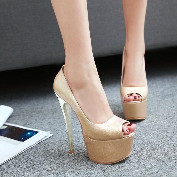 粉红色鱼嘴鞋 鞋子16厘米杏色粉红色婚鞋新娘超高跟鱼嘴鞋特大码鞋小码凉鞋 HMW_推荐淘宝好看的粉红色鱼嘴鞋