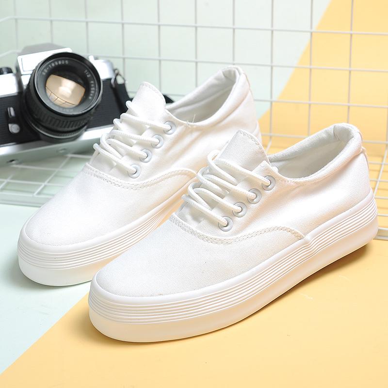 白色厚底鞋 春季白色帆布鞋女韩版小白鞋女士休闲鞋松糕厚底学生系带平底板鞋_推荐淘宝好看的白色厚底鞋
