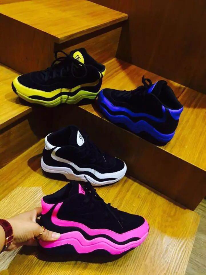 黄色运动鞋 2016黄色拼色秋季新款斯图拉松糕底女鞋运动鞋休闲跑步鞋乐福鞋_推荐淘宝好看的黄色运动鞋