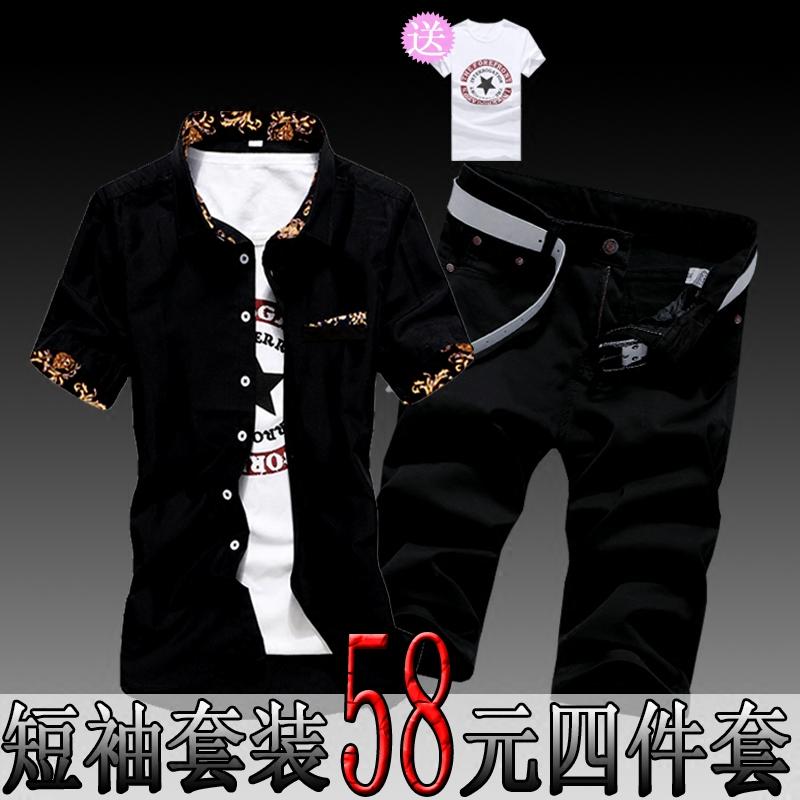 男士牛仔衬衫 夏季男士短袖衬衫搭配七分牛仔裤一套装夏天薄款纯黑色寸衫上衣服_推荐淘宝好看的男牛仔衬衫
