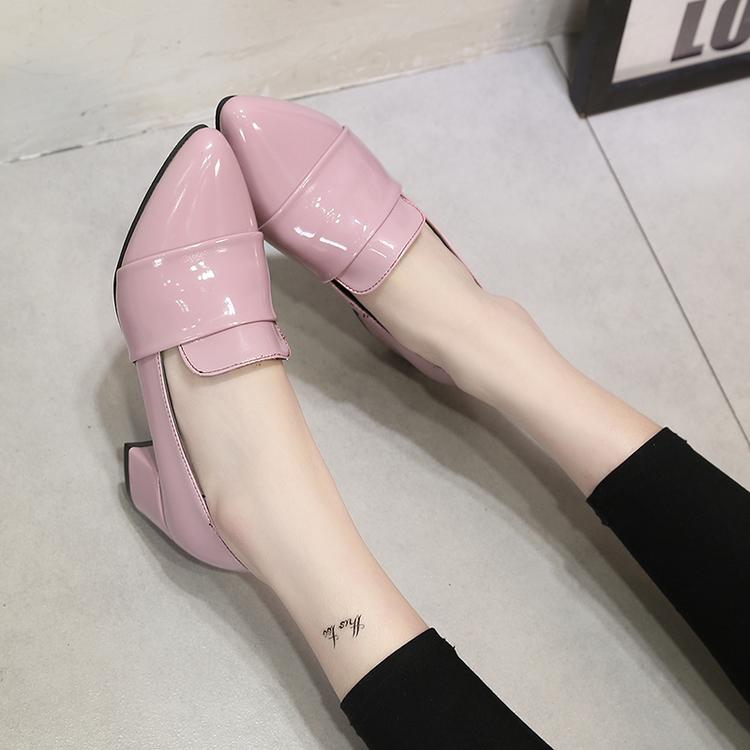 粉红色单鞋 春季新款女士单鞋粉红色尖头中跟女式方跟小皮鞋套脚酒红色欧美风_推荐淘宝好看的粉红色单鞋