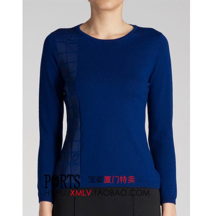 宝姿针织衫 ports宝姿专柜正品代购蓝色LOGO提花修身羊毛针织衫XS-S_推荐淘宝好看的ports 针织衫