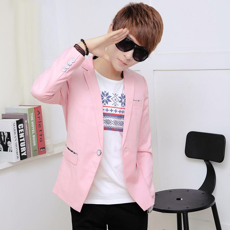粉红色小西装 2016春季新款男士休闲小西装 男韩版时尚修身青少年小西服外套潮_推荐淘宝好看的粉红色小西装