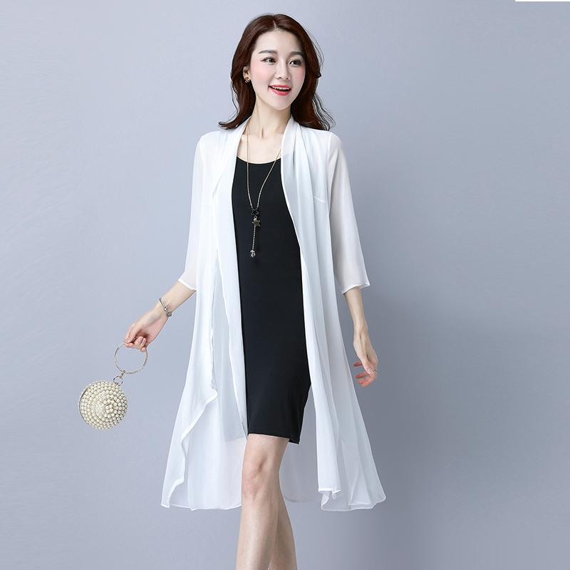 白色雪纺衫 夏季新品韩版披衫长款雪纺衫女宽松大码外搭防晒衣薄款中袖空调衫_推荐淘宝好看的白色雪纺衫