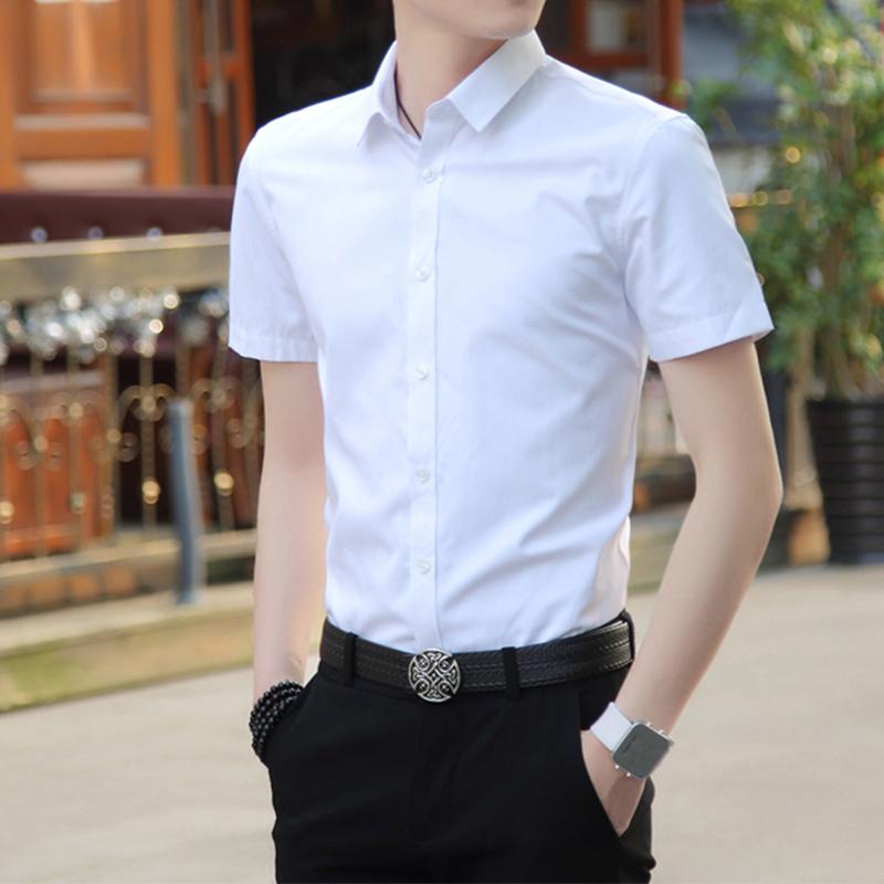 男士修身衬衫 2017时尚夏季短袖衬衫男士韩版修身休闲寸衫白色衬衣男装纯色衣服_推荐淘宝好看的男修身衬衫