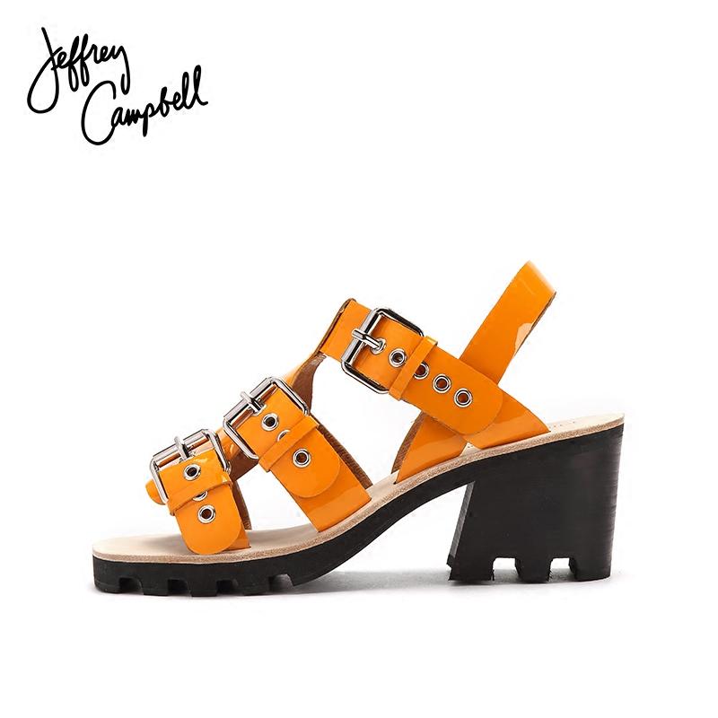 黄色鱼嘴鞋 Jeffrey Campbell18年春夏新品黄色露趾一字扣带沙滩低方跟凉鞋女_推荐淘宝好看的黄色鱼嘴鞋