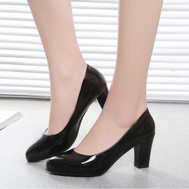 中国高跟鞋 工作鞋女黑色浅口单鞋职业鞋上班鞋女鞋工鞋高跟粗跟圆头女士皮鞋_推荐淘宝好看的女高跟鞋