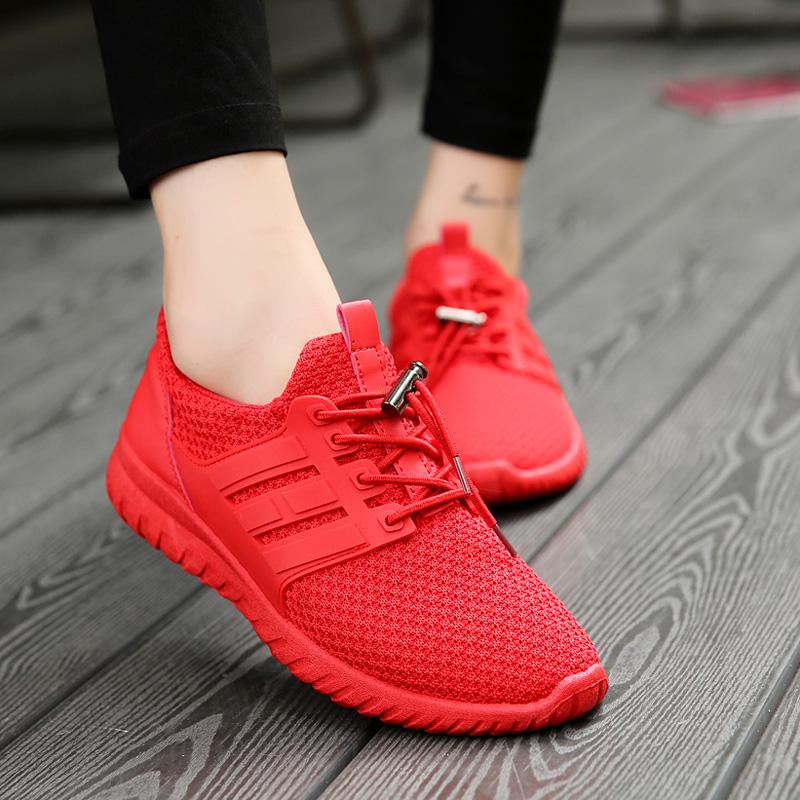 红色单鞋 夏季大码女鞋41-43码单鞋大红色个性时尚板鞋女平底运动休闲鞋潮_推荐淘宝好看的红色单鞋