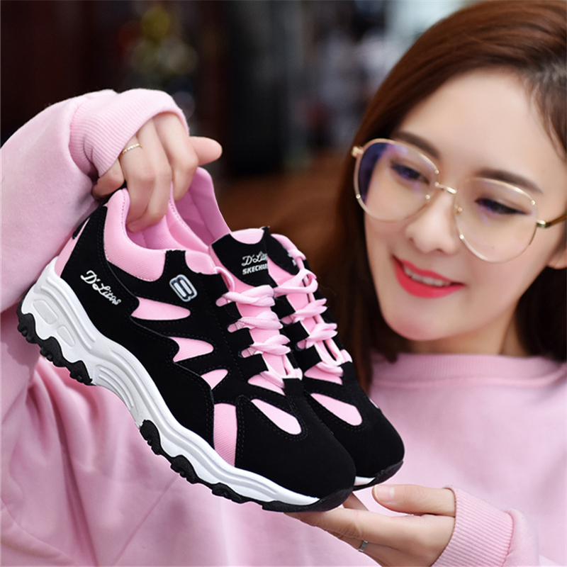 粉红色运动鞋 孕妇新式软妹春秋款女性女士运动鞋女黑白登山春鞋粉红色耐磨夏装_推荐淘宝好看的粉红色运动鞋