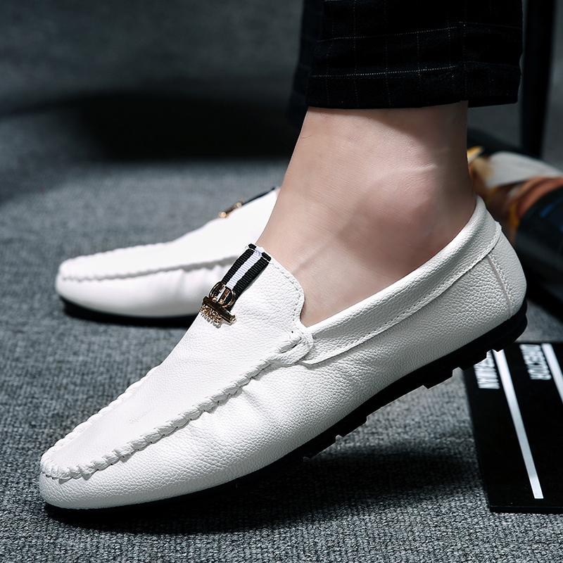 白色豆豆鞋 韩版白色豆豆鞋男秋季社会精神小伙休闲皮鞋青少年橙色dd鞋痘痘鞋_推荐淘宝好看的白色豆豆鞋