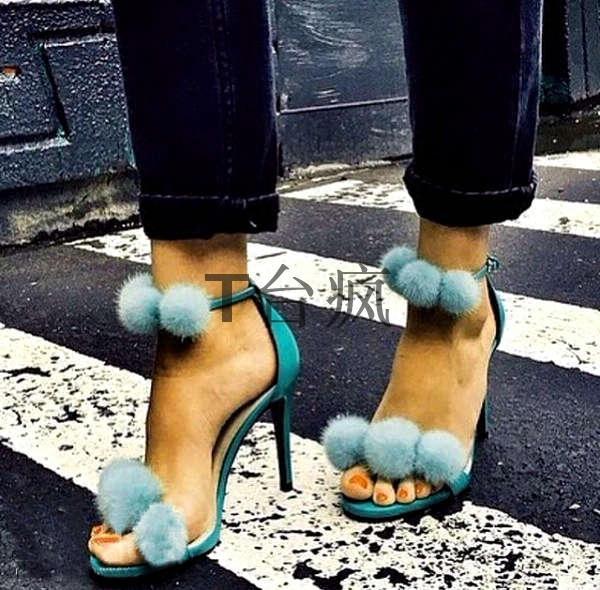 绿色凉鞋 silla rulers 女鞋 凉鞋 绿色鞋子  毛毛球 超高跟 走秀 舞台宴会_推荐淘宝好看的绿色凉鞋