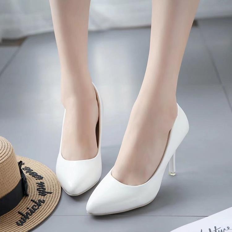 黑色高跟鞋 黑色圆头高跟鞋女细跟裸色中跟40大码41单鞋43小码优雅42职业7cm_推荐淘宝好看的黑色高跟鞋