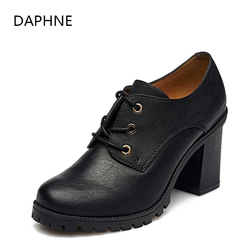 达芙妮单鞋 Daphne达芙妮女鞋 时尚粗高跟系带圆头深口休闲单鞋1515404006_推荐淘宝好看的女达芙妮单鞋
