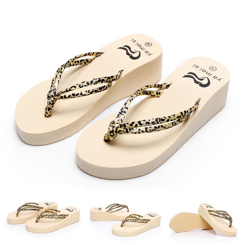 夏季豹纹坡跟鞋 促销 拖鞋女人字拖亮片豹纹细带坡跟夏季凉鞋厚底_推荐淘宝好看的女夏豹纹坡跟鞋