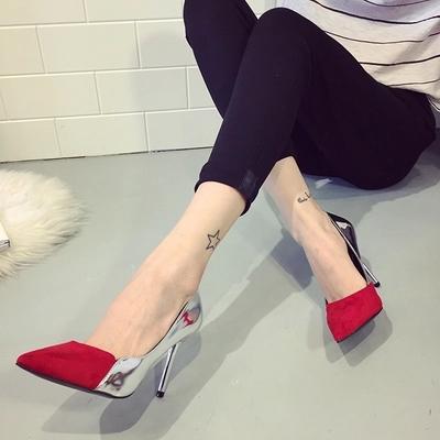 中国高跟鞋 2017新款时尚韩版真皮尖头女鞋细高跟浅口单鞋3031大小码高跟单鞋_推荐淘宝好看的女高跟鞋