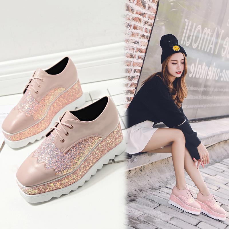 粉红色松糕鞋 2018春季新款低帮厚底松糕鞋休闲鞋单鞋方头系带坡跟女鞋潮粉红色_推荐淘宝好看的粉红色松糕鞋